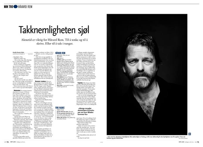 Portrett av Håvard Rem. (Vårt Land) (Foto: Kristian Jacobsen)
